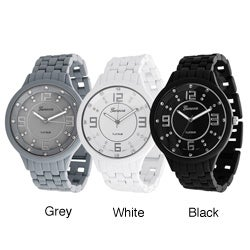 Geneva Platinum Men's Stainless-Steel Rhinestone Soft-Coated Link Watch