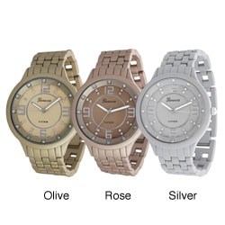 Geneva Platinum Men's Rhinestone Soft-coated Link Watch