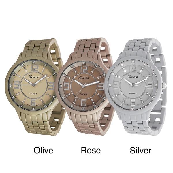 Geneva Platinum Men's Rhinestone Soft-coated Link Watch