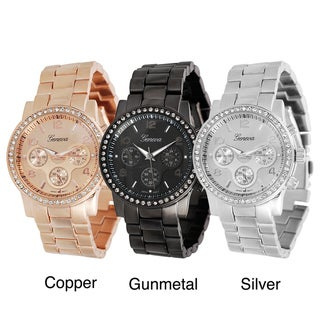 Geneva Platinum Women's Rhinestone Chronograph-Style Japanese Quartz Link Watch