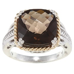 Meredith Leigh 14k Yellow Gold and Sterling Silver Smokey Quartz Ring