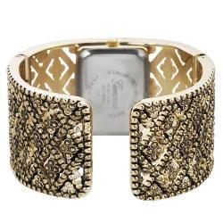 Geneva Platinum Women's Rhinestone Vintage Cuff Watch