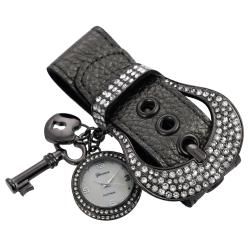 Geneva Platinum Women's Rhinestone Charm Belt Simulated Leather Watch