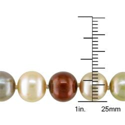Miadora Sterling Silver Multi-colored FW Pearl Necklace (18-inch)