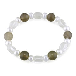 Miadora 72ct TGW White Quartz, Grey Agate and FW Pearl Bracelet (7-8 mm)