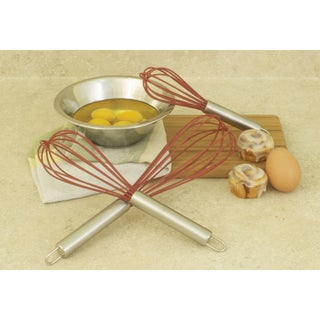 3-piece Red Silicone Whisk Set