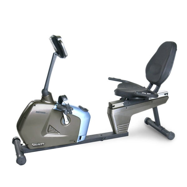 Velocity Exercise Blue and Silver Magnetic Recumbent Bike