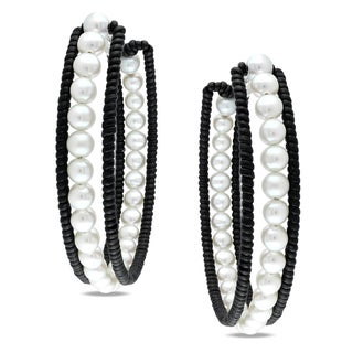 Miadora Pearl and Leather Hoop Earrings