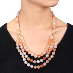 Miadora 600ct TGW Peach Agate Three-strand Necklace (18-inch)