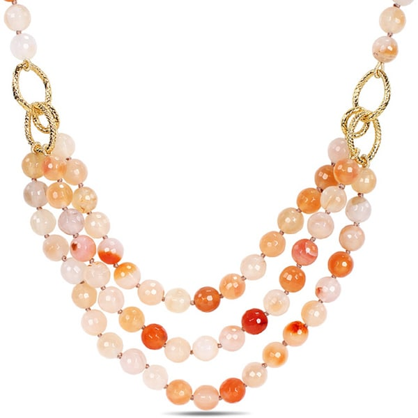 M by Miadora 600ct TGW Peach Agate Three-strand Necklace (18-inch)