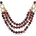 Miadora 600ct TGW Brown Agate Bead 3-strand Necklace (40-inch)