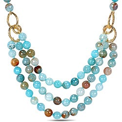 Miadora 600ct TGW Aqua Blue Agate Beads Necklace (18-inch)