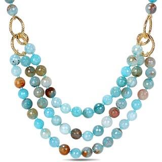 Miadora 600ct TGW Aqua Blue Agate Beads Necklace (18-inch)