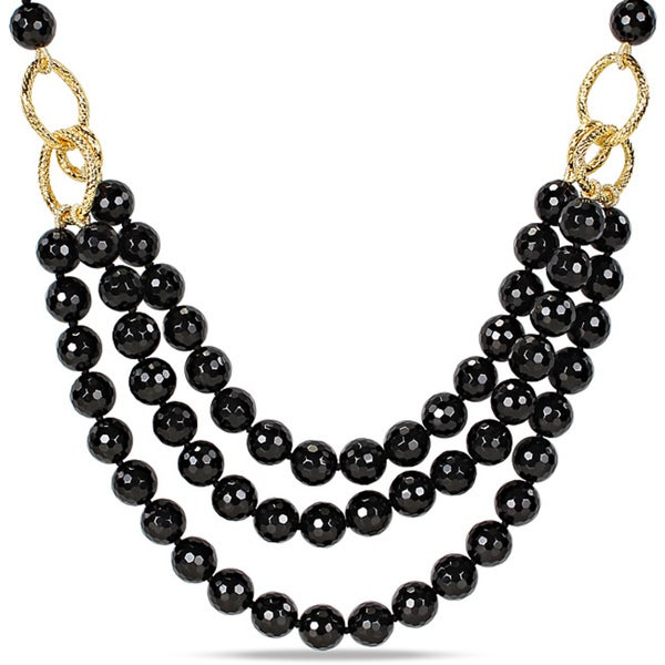Miadora 600ct TGW Black Agate 3-strand Necklace (18-inch)