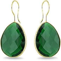 22k Goldplated Silver 42ct TGW Created Hydro Emerald Earrings