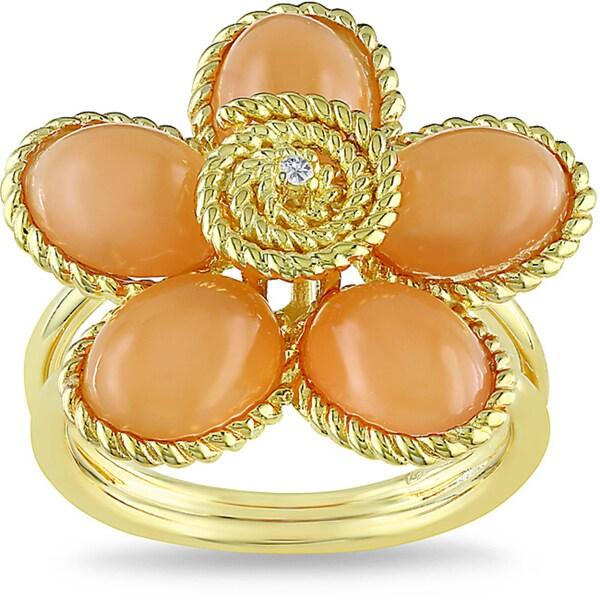 Miadora Gold-plated Silver 8-1/2ct TGW Moonstone & Diamond Accent Ring