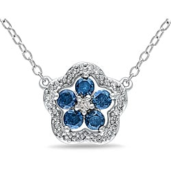 Miadora Sterling Silver 1/2ct TDW Blue and White Diamond Necklace (H-I, I2-I3)