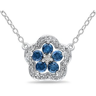 Haylee Jewels Sterling Silver 1/2ct TDW Blue and White Diamond Necklace (H-I, I2-I3)