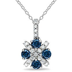 Miadora Sterling Silver 3/4ct TDW Blue and White Diamond Pendant (H-I, I1-I2)