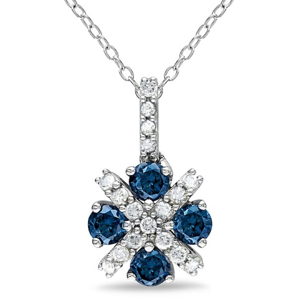 Miadora Sterling Silver 3/4ct TDW Blue and White Diamond Pendant (H-I, I1-I2)