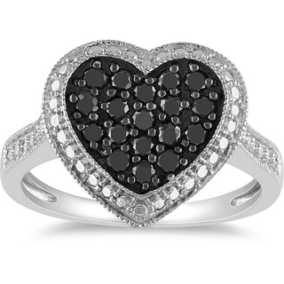M by Miadora Sterling Silver 1/2ct TDW Black Diamond Heart Ring with Bonus Earrings
