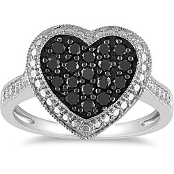 Miadora Sterling Silver 1/2ct TDW Black Diamond Heart Ring