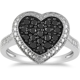 M by Miadora Sterling Silver 1/2ct TDW Black Diamond Heart Ring