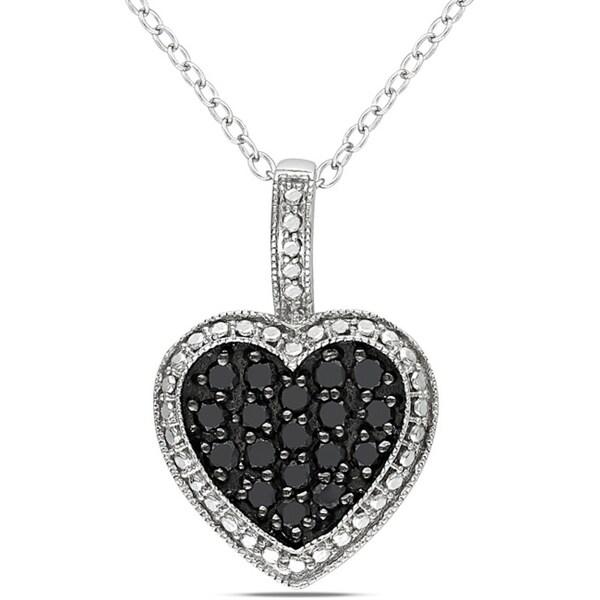 Haylee Jewels Sterling Silver 1/2ct TDW Black Diamond Heart Pendant