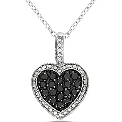 Miadora Sterling Silver 1/2ct TDW Black Diamond Heart Pendant