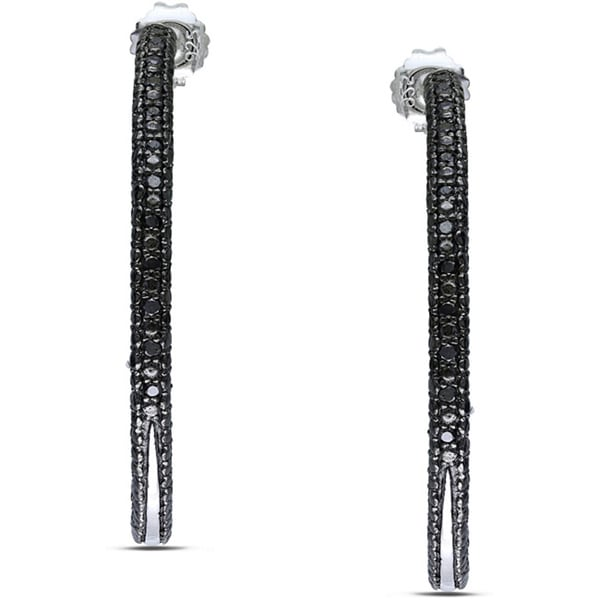 Haylee Jewels Sterling Silver 1/4ct TDW Black Diamond Hoop Earrings