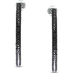 Miadora Sterling Silver 1/4ct TDW Black Diamond Hoop Earrings
