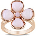 Miadora Pink-plated Silver 5-3/4ct TGW Pink Opal Flower Ring