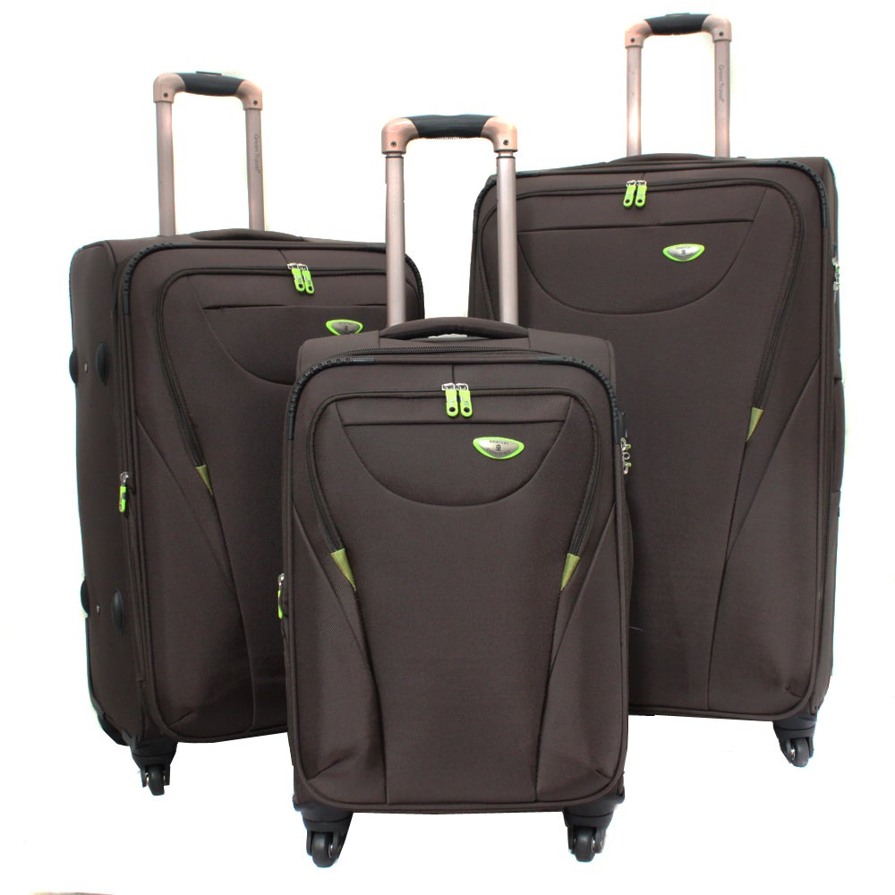 american green travel brown 3 piece expandable spinner. Black Bedroom Furniture Sets. Home Design Ideas