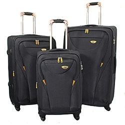 American Green Travel Grey 3-piece Expandable Spinner Luggage Set with TSA Lock
