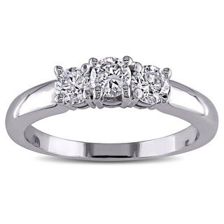 Miadora 14k White Gold 1ct TDW Diamond Three-stone Ring (G-H, I1-I2)