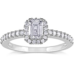 Miadora 14k White Gold 3/4ct TDW Emerald-cut Diamond Ring (H-I, I1-I2)