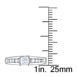 Miadora 14k Gold 1/2ct TDW Princess Cut Diamond Engagement Ring (H-I, I1-I2) (IGL)