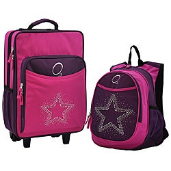 Obersee Kids 'Rhinestone Star' 2-piece Backpack and Carry On Upright Luggage Set