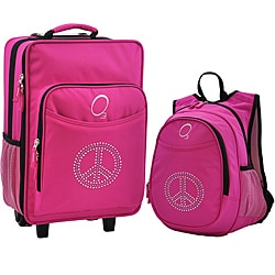 "O3 Kids ""Rhinestone Peace"" Pre-School Backpack and Suitcase Set"