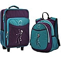 "O3 Kids ""Turquoise Butterfly"" Pre-School 2-piece Backpack and Suitcase Carry On Luggage Set"