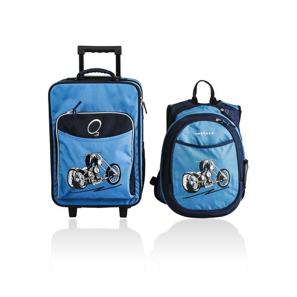 "Obersee Kids ""Motorcycle"" 2-piece Backpack and Carry On Upright Luggage Set"