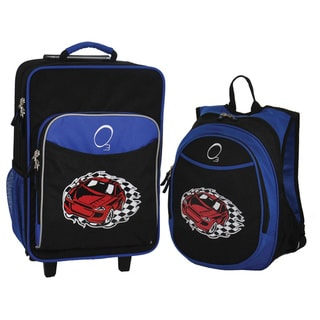 "O3 Kids ""Racecar"" Pre-School 2 Piece Backpack and Suitcase Carry On Luggage Set"