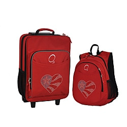 "Obersee Kids ""Flag Heart"" 2-piece Backpack and Carry On Upright Luggage Set"