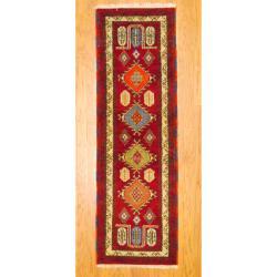 Indo Hand-knotted Kazak Burgundy/ Beige Wool Rug (2' x 6'6)