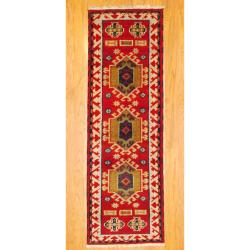 Indo Hand-knotted Kazak Red/ Gold Wool Rug (2'1 x 6'5)