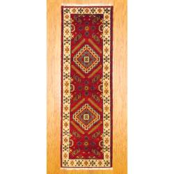 Indo Hand-knotted Kazak Red/ Ivory Wool Rug (2'1 x 6'8)