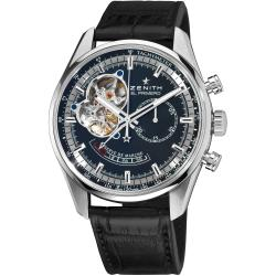 Zenith Men's 'Chronomaster XXT Open' Black Dial Leather Strap Watch