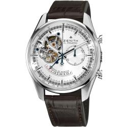 Zenith Men's 'Chronomaster XXT Open' Silver Dial Brown Strap Watch