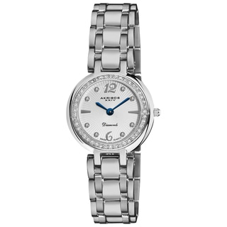 Akribos XXIV Women's Silver-Tone Stainless Steel Diamond Bracelet Watch