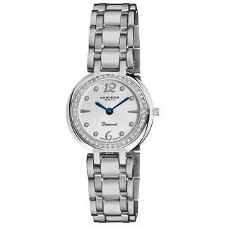 Akribos XXIV Women's Silver-Tone Stainless Steel Diamond Bracelet Watch